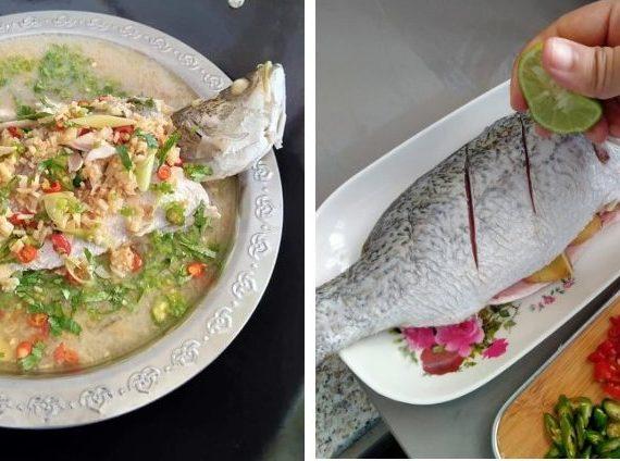 Cara membuat Ikan Siakap Stim Ala Thai