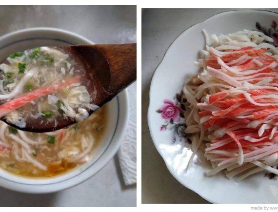 Resepi Sup Telur dicampur Crab Stick. Pembuka selera anak-anak anda.