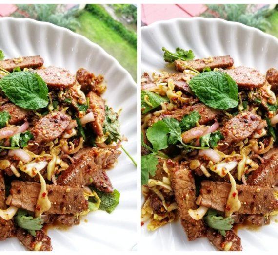Resepi Kerabu Daging Panggang Pedas atau Nue Nam Tok