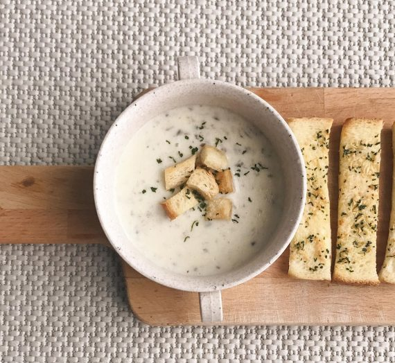 Resepi Mudah Untuk Membuat Garlic Bread, Croutons dan Sup Cendawan berkrim.