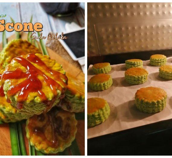 Cara untuk membuat Pandan Scone Gula Melaka. Sedapnya bila teringat makan di Cameron Highland.