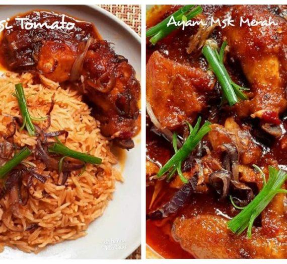Cara untuk membuat Nasi Tomato bersama Ayam Masak Merah. Menu kenduri yang anda rindukan.